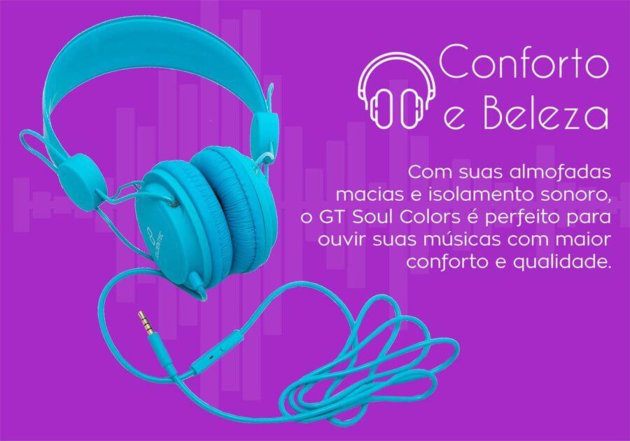 Fone de Ouvido Headset GT Soul Colors Goldentec