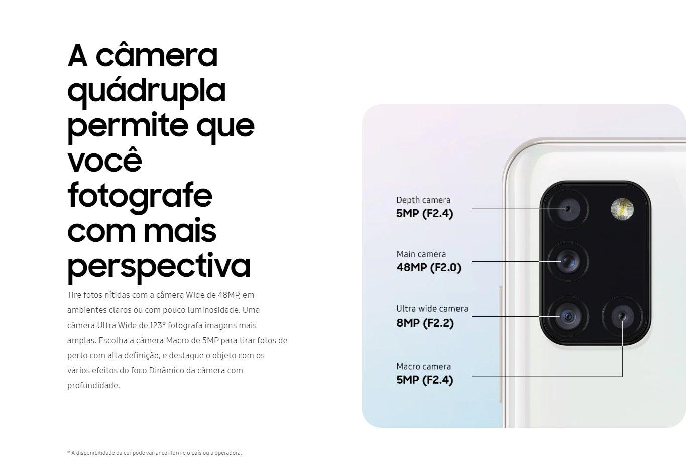 Smartphone Samsung Galaxy A31 128GB Dual Preto Câm.Quádrupla + Selfie 20MP - SM-A217MZWKZTO