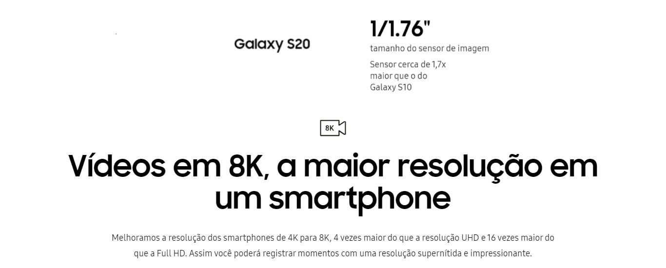 Smartphone Samsung Galaxy S20 128GB Dual Chip Tela 6.2