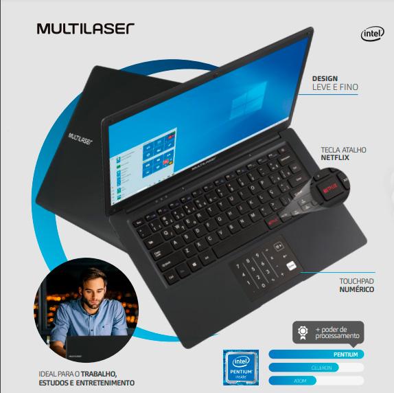 Notebook Multilaser Legacy Book Intel Pentium Quadcore 4GB 64GB 14,1