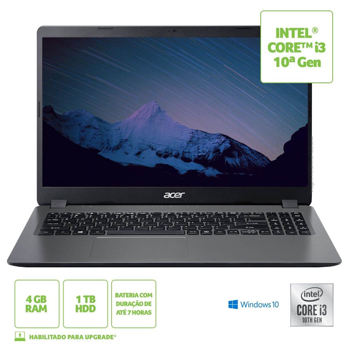 """Notebook - Acer A315-56-36z1 I3-1005g1 1.20ghz 4gb 1tb Padrão Intel Hd Graphics Windows 10 Home Aspire 3 15,6"""" Polegadas"""