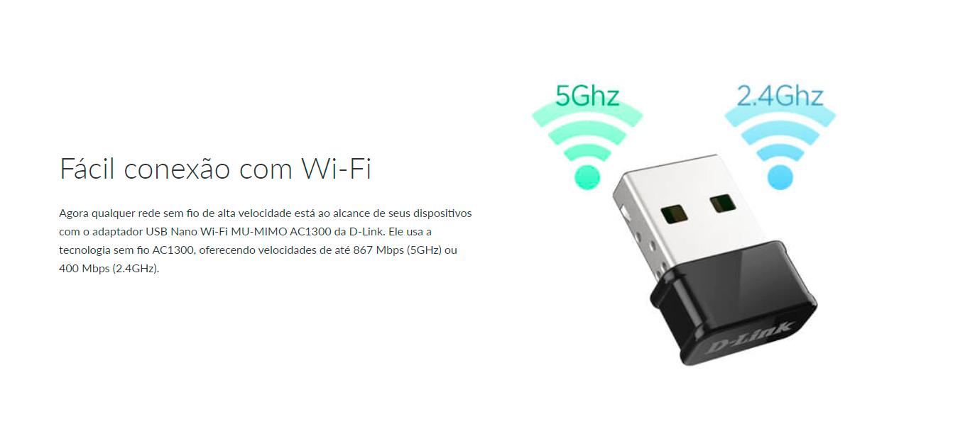Adaptador Wi-Fi D-Link USB  AC1300 1300Mbps MU-MIMO Nano Dual Band- DWA-181
