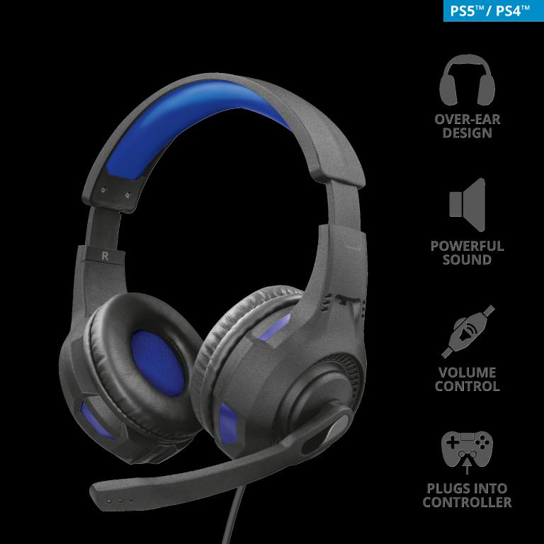 Headset Gamer  Trust GXT 307B Ravu 40mm PS4 / PS5  - Preto/Azul -T23250