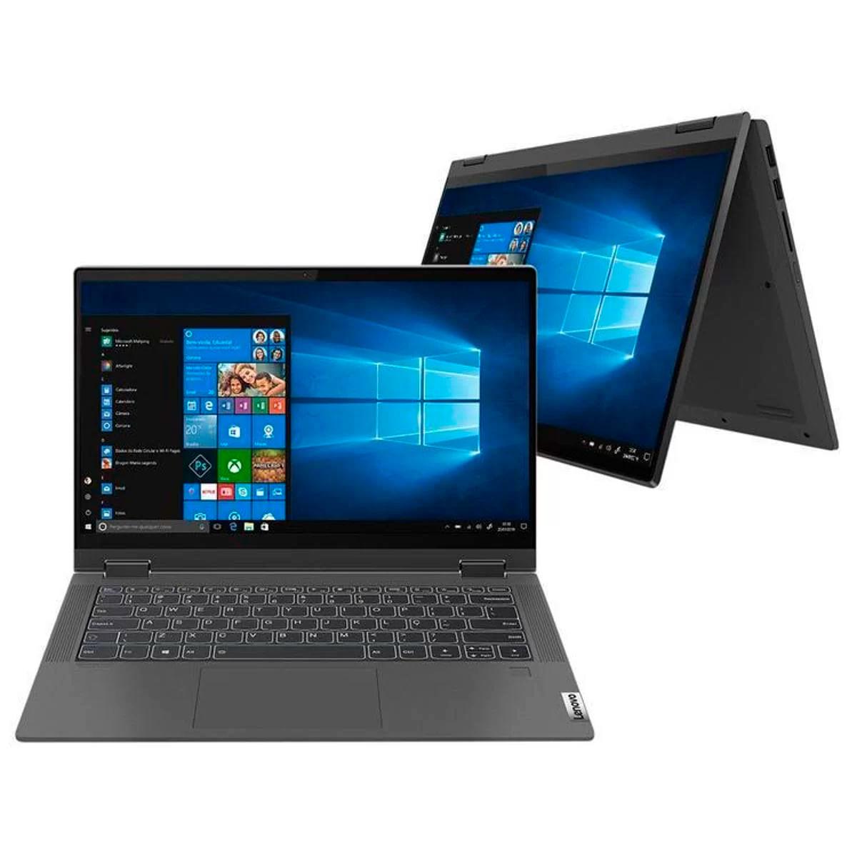 "Notebook - Lenovo 81ws0002br I5-1035g1 1.00ghz 8gb 256gb Ssd Intel Hd Graphics Windows 10 Home Flex 5i 14"" Polegadas"