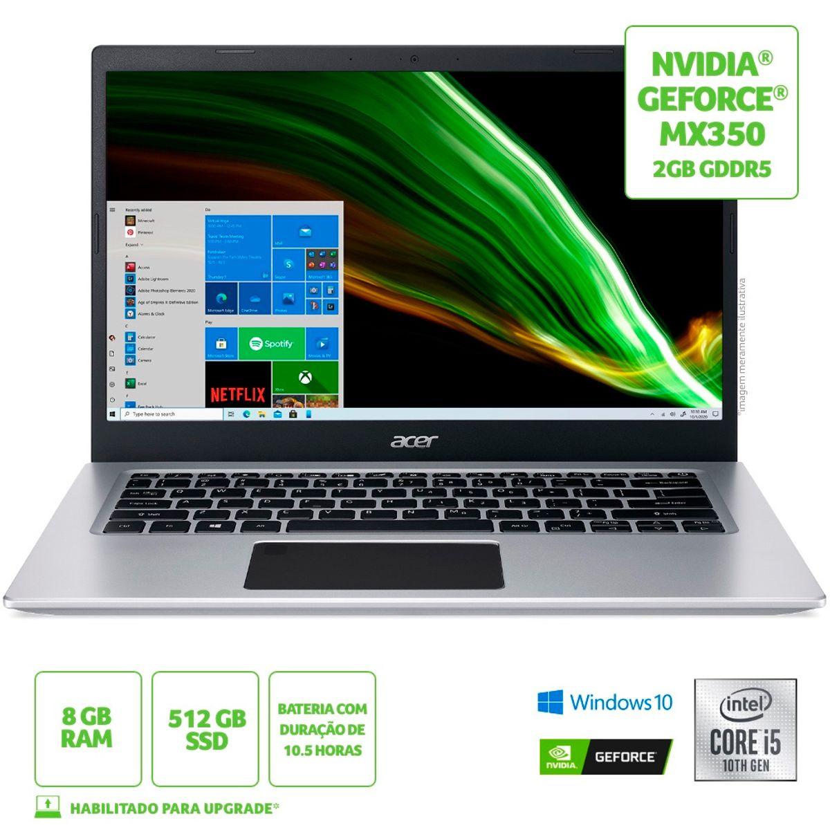 "Notebook - Acer A514-53g-571x I5-1035g1 2.40ghz 8gb 512gb Ssd Geforce Mx350 Windows 10 Home Aspire 5 14"" Polegadas"