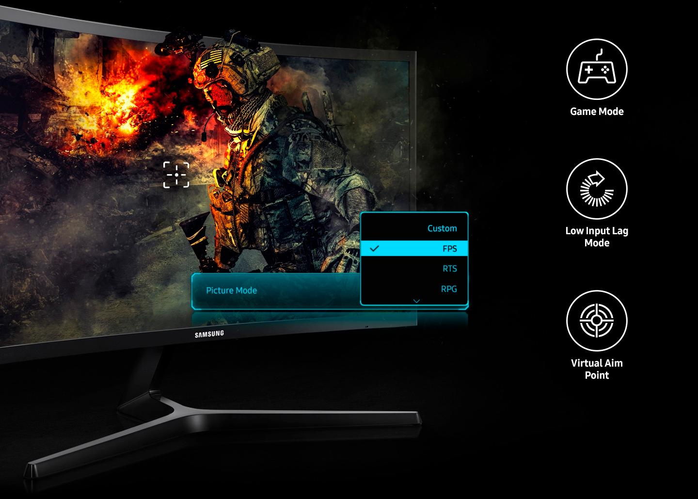 Monitor Gamer Samsung 23,5 Curvo Full HD HDMI/DisplayPort FreeSync 144Hz Inclinação Ajustável - LC24RG50FQLMZD
