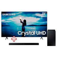 Smart-TV-75--Crystal-UHD-TU7020-4K-2020-Samsung----Soundbar-Samsung-HW-T555-com-2.1-canais-Potencia-de-320W-Bluetooth-Subwoofer-Sem-Fio