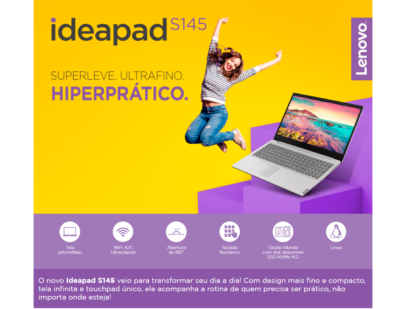 Notebook Lenovo Ideapad S145 Ryzen 5-3500U 12GB 1TB RX Vega 8 15,6 HD  Linux, Prata - 81V7S00000