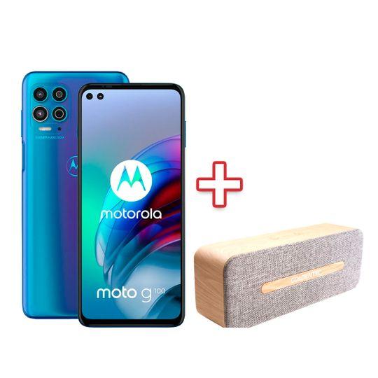 Smartphone-Motorola-G100-5G-256GB-12GB-RAM-Tela-67--Camera-Quadrupla-Ocean---Caixa-de-Som-Bluetooth-6W-RMS-Goldentec-GT-SoundSync-GT201---Madeira