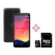Kit-Smartphone-Nokia-C2-32GB-1GB-RAM-Tela-57--Camera-Dupla-Carvao---NK010---Cartao-de-Memoria-MicroSD-16GB-Classe-10-MC110GT---Adaptador-SD-Goldentec