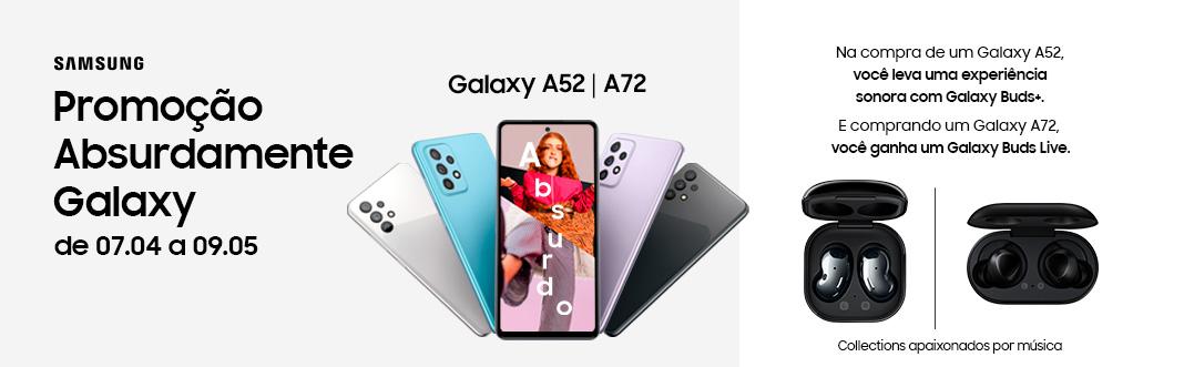 Smartphone Samsung A52 128GB 6GB RAM Tela 6,5 Câmera Quádrupla Traseira 64MP + 12MP + 5MP + 5MP Frontal de 32MP Bateria de 4 500mAh Preto