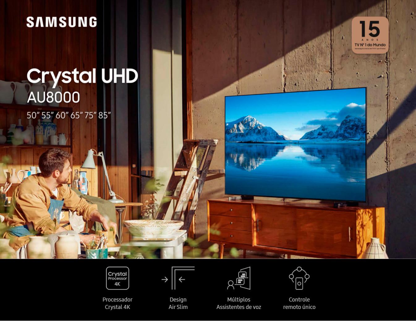 Smart TV 65 Crystal UHD 4K Samsung 65AU8000, Painel Dynamic Crystal Color, Design slim, Tela sem limites, Visual Livre de Cabos, Alexa built in