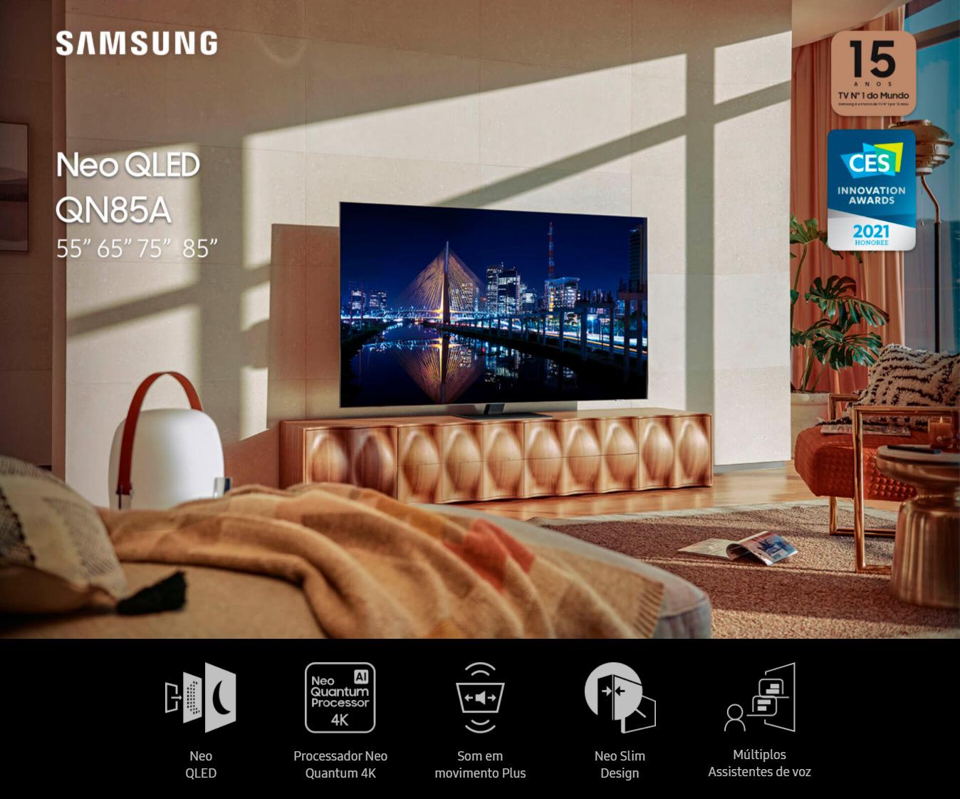 Smart TV 85 Neo QLED 4K Samsung  85QN85A, Mini Led, Painel 120hz, Processador IA, Som em Movimento, Tela sem limites, Design slim, Alexa built in