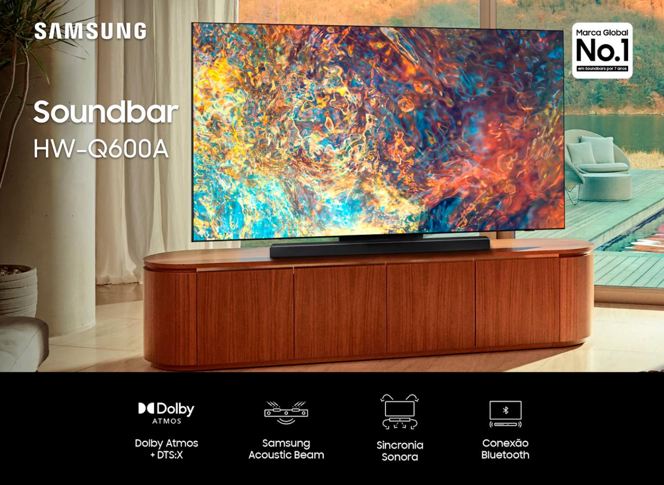 Soundbar Samsung  com 3.1.2 canais, Bluetooth, Subwoofer sem fio,Dolby Atmos e Acoustic Beam