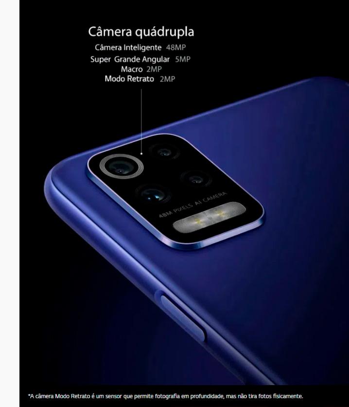 Smartphone LG K62 64GB 4GB RAM Tela de 6,59 Câmera Quádrupla Traseira 48MP + 5MP + 5MP + 2MP Frontal de 13MP Bateria 4000 mAh
