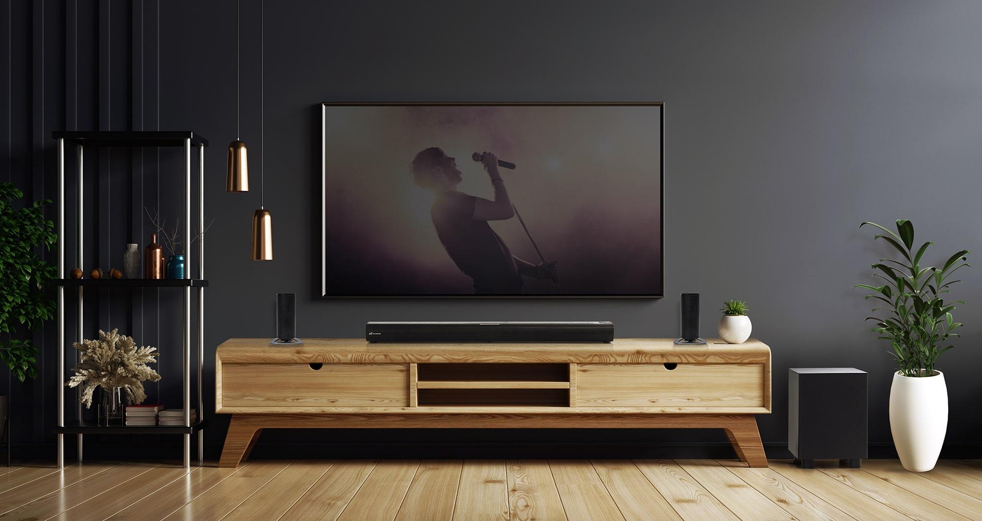 Soundbar 5.1 Canais 280W RMS com Subwoofer sem fio, Bluetooth, Entrada HDMI e Óptica Goldentec